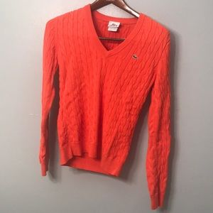 Lacoste 40 Orange V-neck sweater or size 8